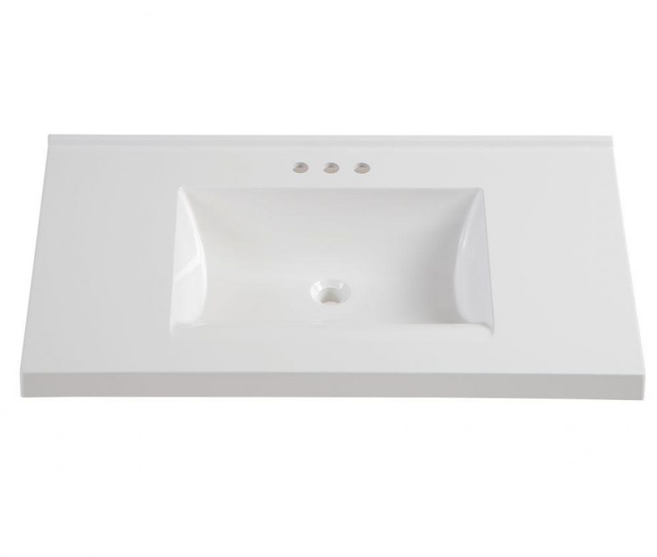 37 In. Cultured Marble Vanity Top In White With White Basin