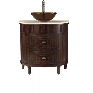 fuji 32 in vanity in old walnut with marble vanity top in cream and brown