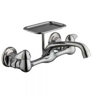 Glacier Bay 2-Handle Wall-Mount Kitchen Faucet with Soap Dish in Chrome