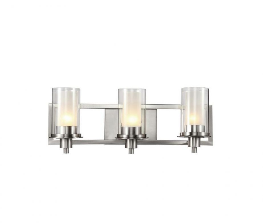 Cabernet Collection 3 Light Brushed Nickel Bath Bar Light With Frosted Inner Glass Shade