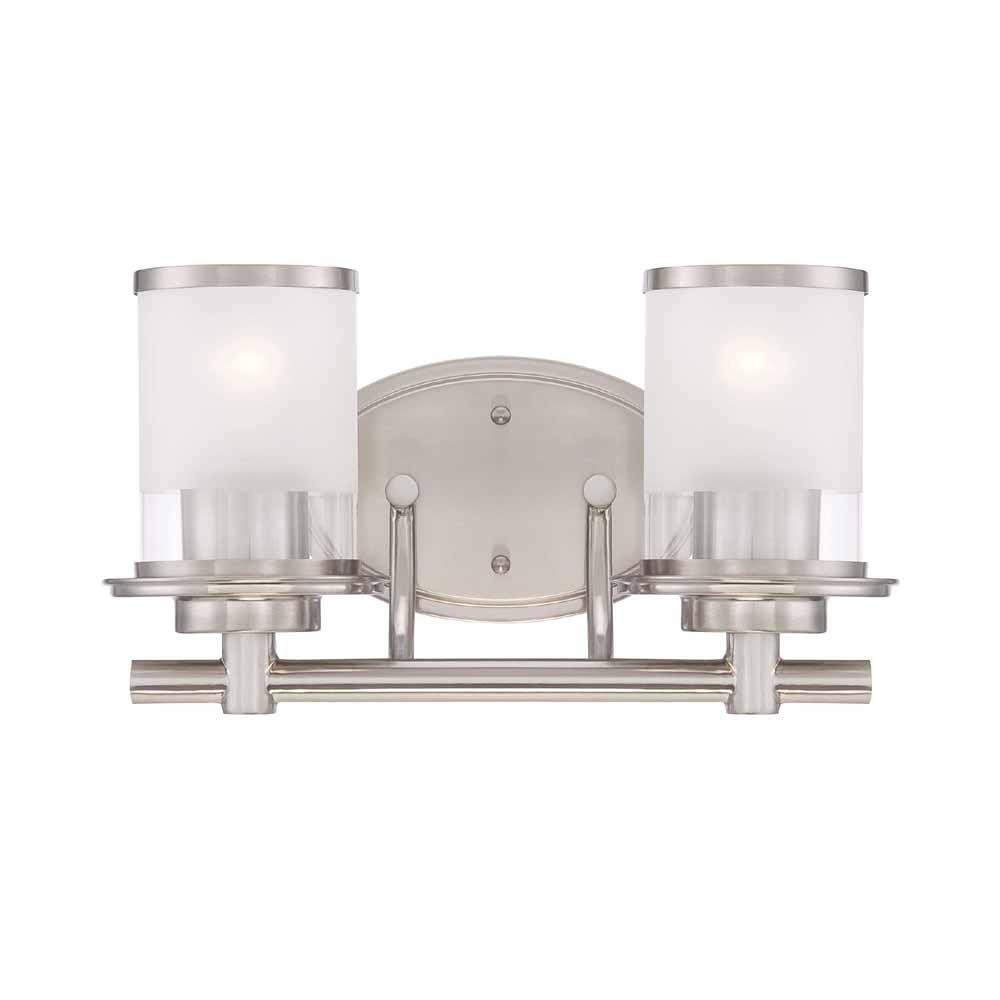 brushed nickel bathroom lights. 2-Light Brushed Nickel Vanity Light With Clear And Sand Glass Shades \u2013 Lowest Price Depot Bathroom Lights S