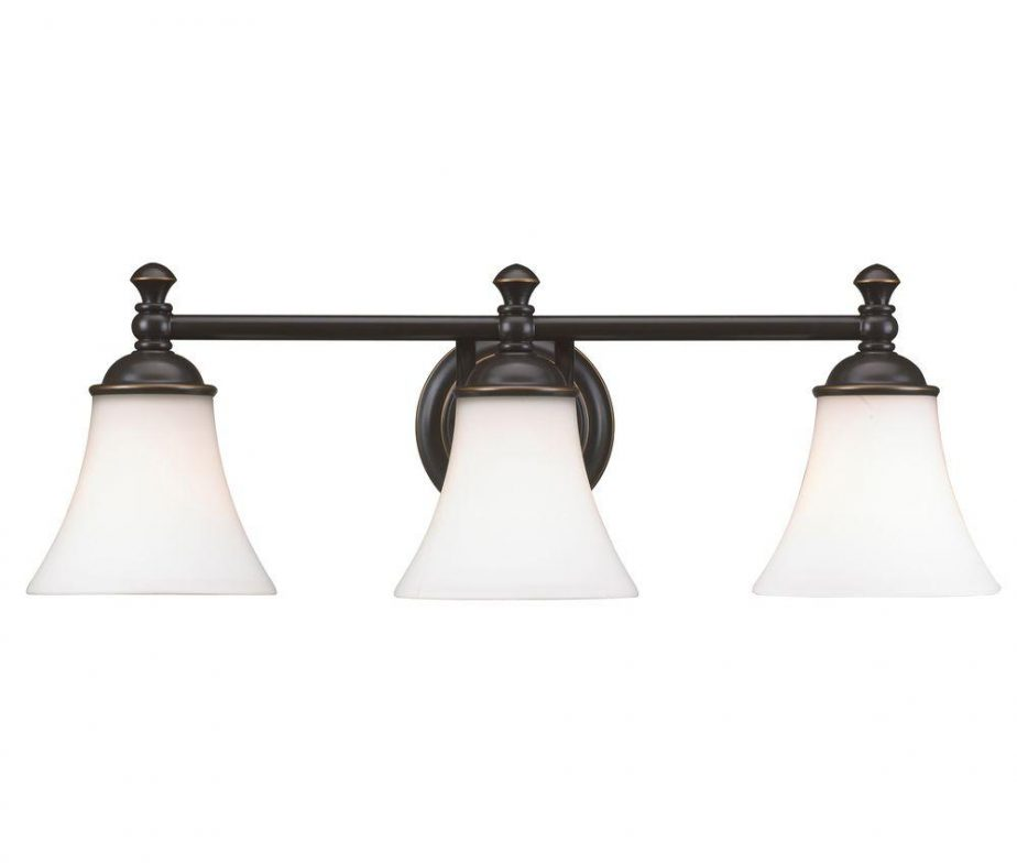 Crawley 3-Light Oil-Rubbed Bronze Vanity Light with White Glass ...