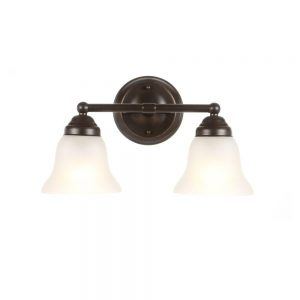 2-Light Oil Rubbed Bronze Vanity Light with Frosted Glass Shades