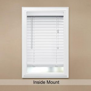White Faux Wood Blind with 2 in. Slats